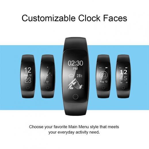 ID107Plus Smart Bracelet Fitness Tracker Moniteur de fréquence cardiaque - Noir