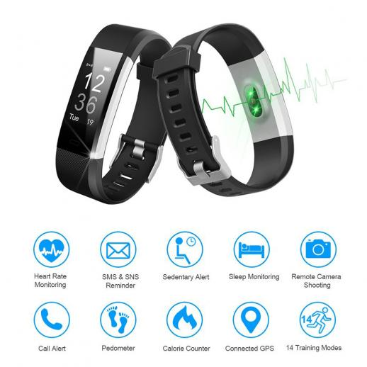ID115HR Plus Bracelet Intelligente Sport Tracker Moniteur de Fitness - Noir