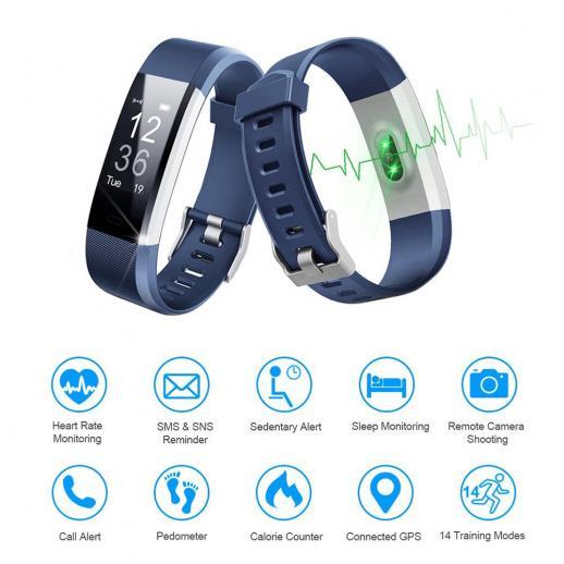 6215d910ba3b ... ID115HR PLUS Pulsera inteligente Pulsera deportiva Fitness Tracker  Monitor de frecuencia cardíaca - Azul ...