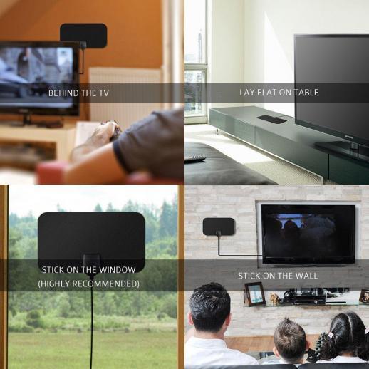 Antena de TV Interior Digital HDTV 4k 1080p ATSC Estándar 20-50millas con Amplificador USB 21*12cm