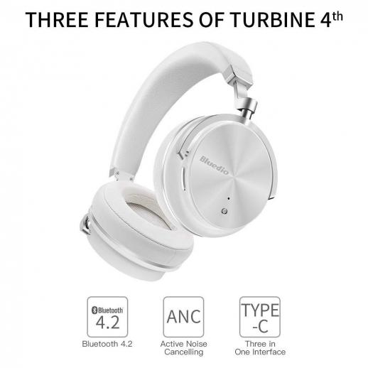 Bluedio T4S Active Noise Canceling Bluetooth Hodetelefoner Hvit
