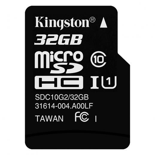 Classe de Cartão de Memória microSDHC 32GB Kingston Classe 10 UHS-I 80MB / s