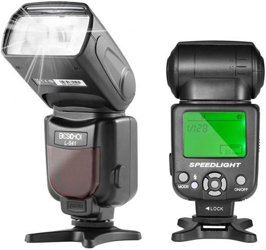 Flash Beschoi L541 Speedlite Flash universel avec écran LCD pour Canon Nikon Panasonic Olympus Pentax et autres appareils photo reflex numériques avec sabot standard
