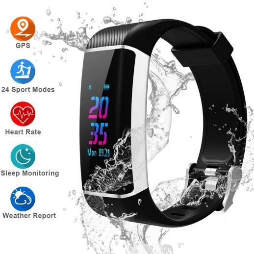 GPS-фитнес-трекер, часы с цветным экраном и функцией отслеживания активности, с монитором сердечного ритма, встроенным GPS, с 24 спортивными режимами, водонепроницаемый IPX67 смарт-браслет Bluetooth со счетчиком шагов, счетчик калорий