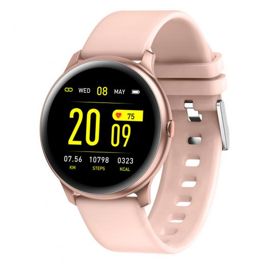 K&F KW19 Pro Smartwatch Vollbild Touch Blutdruck Herzfrequenzmesser Fitness Tracker -Pink