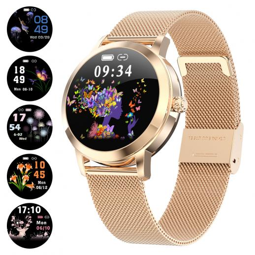 KW10 Dames Smart horloge Dames Fitnessarmband Smartwatch Klok IP68 Waterdichte hartslagmeter Voor Android IOS Sport Tracker-Golden