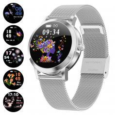 KW10 Women Smart Watch Lady Fitness Bracelet Smartwatch Clock IP68 Waterproof Heart Rate Monitor For Android IOS Sport Tracker-Silver