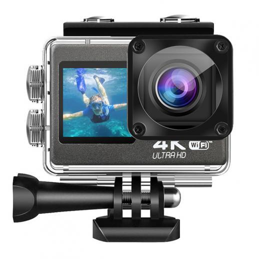 Suporte para câmera esportiva à prova d'água de tela dupla 4K60FPS controle WIFI controle remoto preto anti-vibração