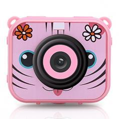AT-G20G Barnkamera Vattentät 1080P HD Actionkamera för födelsedagsferiekamera Leksak 2.0 '' LCD-skärm (rosa)