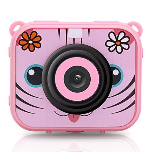 AT-G20G Cámara para niños a prueba de agua 1080P HD Cámara de acción para regalo de cumpleaños y vacaciones Cámara de juguete Pantalla LCD de 2.0 pulgadas (rosa)