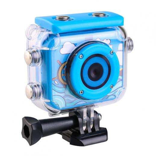 AT-G20B Kids Action Camera 1080P HD Video impermeável Filmadora digital de esportes infantis, cartão TF 32GB (azul)
