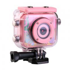 AT-G20B Caméra d'action pour enfants 1080P HD Caméscope de sport pour enfants numérique vidéo étanche, carte SD de 32 Go (rose)