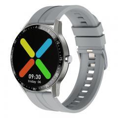 G1 montre intelligente fitness tracker 1.28 pouces moniteur de fréquence cardiaque à écran tactile complet IP68 étanche argent