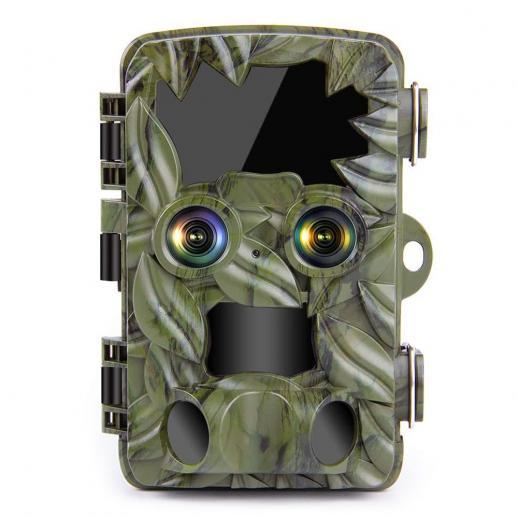 Câmera de trilha dupla H8201 com visão noturna Starlight, câmera 4K de vida selvagem, câmera de jogo ativada para monitoramento de caça ao ar livre da vida selvagem