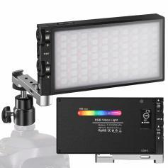 Luce di riempimento RGB a colori tascabile Batteria ricaricabile da 12 W incorporata Luce della fotocamera a LED 360 ° a colori 12 effetti di illuminazione comuni, CRI≥972500-8500K Luce video a pannello in lega di alluminio a LED
