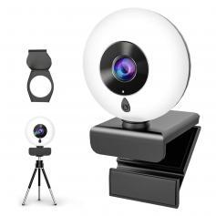Auto Focus Webcam with Ring Light & Tripod & Microphone Adjustable Brightness