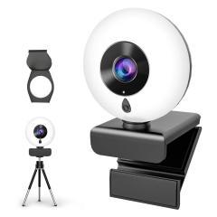 Webcam à mise au point automatique avec éclairage annulaire, trépied et microphone, luminosité réglable, webcam d'ordinateur USB pour vidéoconférence / appel / enseignement / jeu sur PC, ordinateur portable