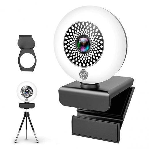Autofocus-webcam met ringlicht en statief en microfoon