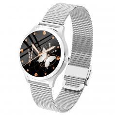LW07 Vollkreis Full Touch weibliche Smartwatch Armband Silber