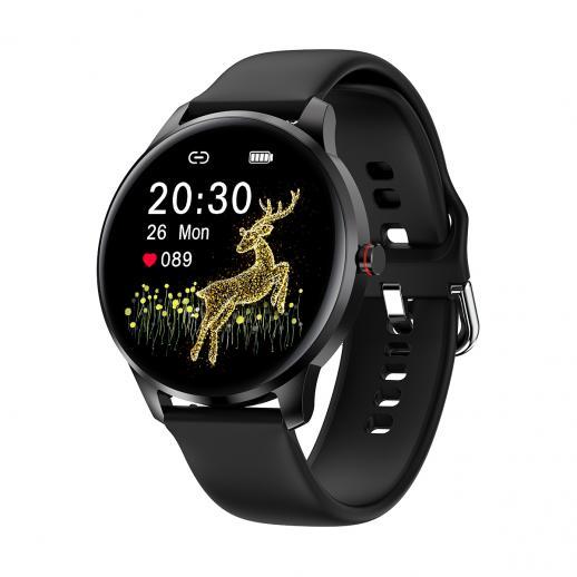 LW29 1,28 pouces AMOLED Full Circle Full Touch ultra-mince montre de sport intelligente prend en charge la fréquence cardiaque, la pression artérielle, l'oxygène sanguin, plusieurs modes sportifs, IP68 noir étanche