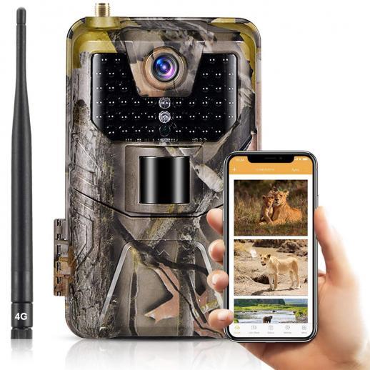 Câmeras de trilha celular LTE 4G Câmera de vídeo ao vivo 4k de 30MP sem fio para monitoramento de vida selvagem com alcance de detecção de 120 ° com visão noturna ativada à prova d'água