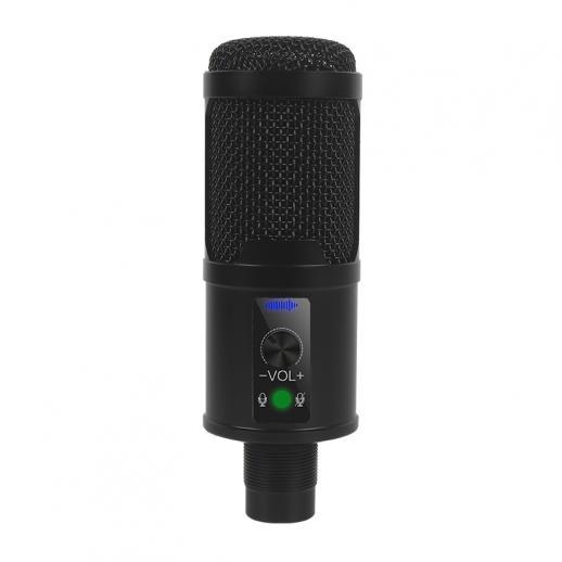 Kit de microfone USB 192K24Bit de alta taxa de amostragem cardióide com suporte de tripé de mesa para jogo de PC com gravação de voz profissional em karaokê