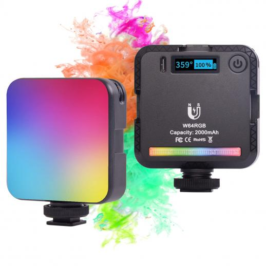 Full-color RGB fill light , built-in 2000mah rechargeable battery, LED camera light with magnet adsorption function