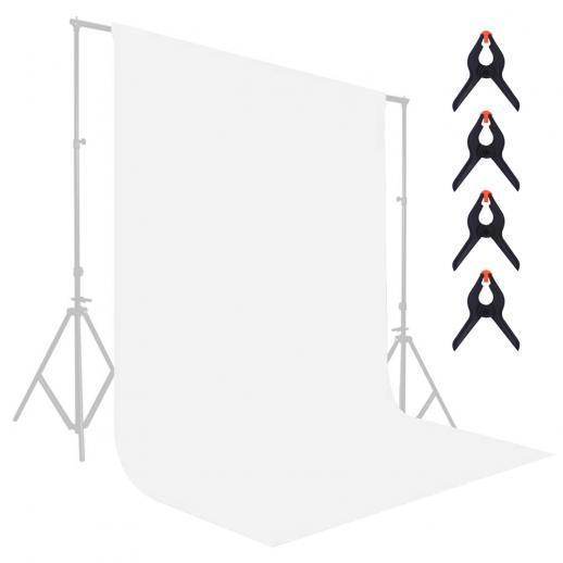1.8*2.8m białe muślinowe tło, składana miękka bezszwowa tkanina kluczująca z 4 sprężynowymi klipsami, używana do fotografii wideo i telewizji