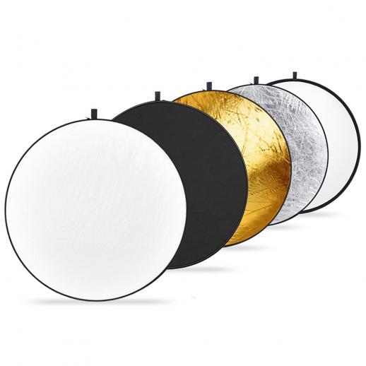 Reflector de 43 pulgadas / 110 cm Bolsa de cinturón multidisco plegable 5 en 1-transparente, plateado, dorado, blanco y negro, adecuado para la iluminación de estudios fotográficos y la iluminación de exteriores