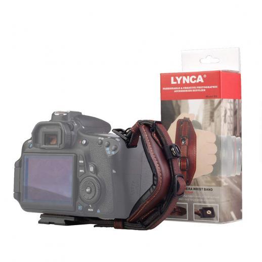 Kamera Läder handledsrem Lynca e6 Justerbar kamerahandtag bälte (med snabbkopplingsplatta) för Canon Nikon, Sony Fujifilm DSLR-kameror Brun