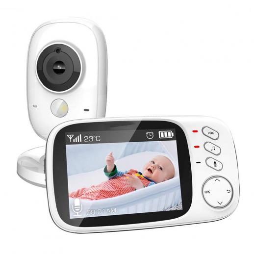 Video Baby Monitor with Camera and Audio, 3.2 Inch Screen Night Vision Temperature Monitoring & 2 Way Talkback System