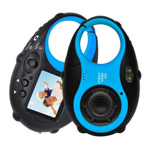 Kids camera 12MP 4×digital zoom, mini children's camera with photo frames for boys and girls (black and blue)