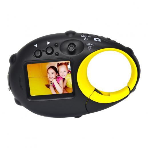 Câmera infantil linda câmera 12MP 4 × zoom digital, câmera digital infantil com vídeo, mini câmera infantil com porta-retratos para meninos e meninas (preto e amarelo)