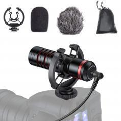 Profesjonalny mikrofon do kamery wideo z mikrofonem typu shotgun z mocowaniem przeciwwstrząsowym