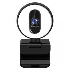 H100 60FPS-webbkamera med fyllnadsbelysning, autofokus, 1080P USB-webbkamera med dubbla mikrofoner, plug-and-play-webbkamera, justerbar ljusstyrka, sekretessskydd, USB-webbkamera för PC-stationär MAC, Zoom Skype YouTube