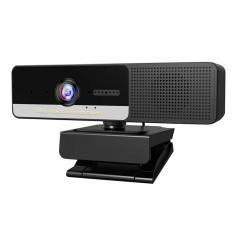 H200-mikrofon, högtalare och 1080P-objektiv tre-i-ett högupplöst affärswebbkamera med integritetsskydd, fast fokus, H200 högupplöst vidvinkelmöte USB-webbkamera för möten YouTube Skype FaceTime Hangouts, PC Mac bärbar dator