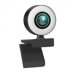 V30 1080P-webbkamera med mikrofon och ringljus, plug-and-play-webbkamera, justerbar ljusstyrka, strömmande webbkamera, USB-webbkamera för PC-stationär MAC, Zoom Skype YouTube