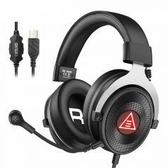 Zestaw słuchawkowy do gier USB Wirtualny dźwięk przestrzenny Przewodowy zestaw słuchawkowy do komputera PC, z mikrofonami i oświetleniem LED, do PS4/PS5/Mac/laptopów