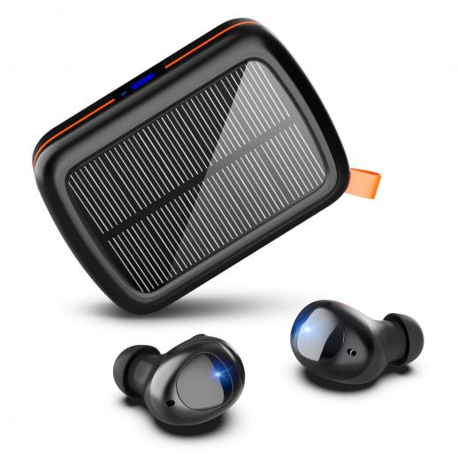 Wireless Earbuds 160H Play Time HI-FI Stereo Bluetooth 5.0 Earphones with Solar & USB-C Fast Charging Box Noise-Canceling Microphone Sports Earphones