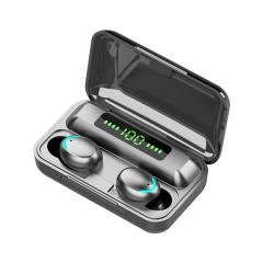 TWS Bluetooth Headset 2000mah Casque de charge sans fil Stéréo Sports Étanche Affichage numérique Casque tactile avec microphone Noir