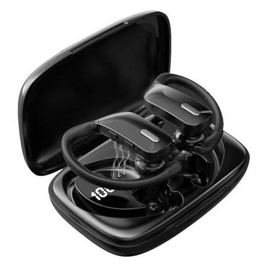 Écouteurs sans fil Casque Bluetooth Écouteurs de lecture 48H TWS Basse profonde dans l'oreille Étanche avec microphone Affichage à LED pour le sport Noir