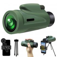 12X50 HD-monokular, med snabb smarttelefonhållare, vuxna och barn dag- och nattvisionsmonokular, vattentät monokulär-BAK4-prisma, används för jakt, fågelskådning, vandring