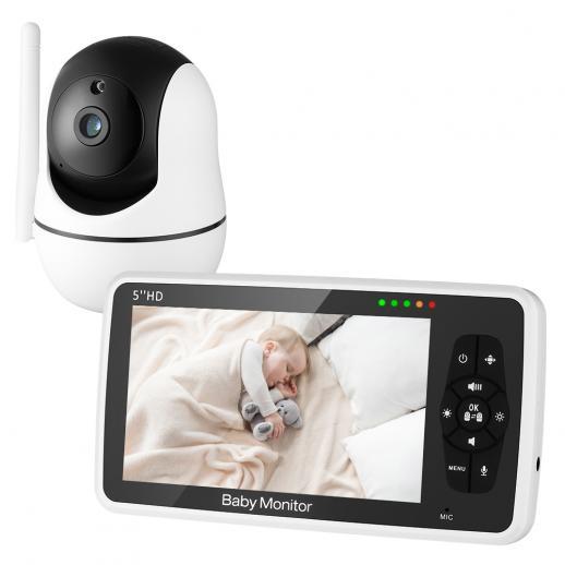 """Moniteur audio vidéo bidirectionnel pour bébé 720P 5"""" HD avec vision nocturne et batterie 4000mAh"""