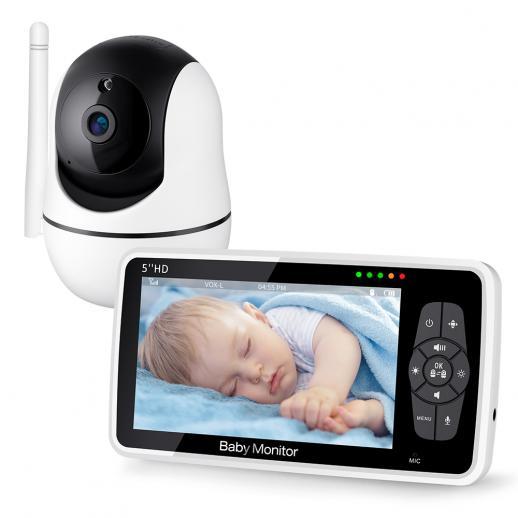 """Baby Videomonitor 720P 5"""" HD-SKärm Utan WiFi, Nattseende, 4X Zoom, 4000mah-Batteri, 1000 Ft Räckvidd 2-VäGS Ljud Temperaturgivare Lullaby"""