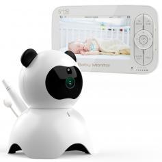 5-Zoll-Panda-LCD-Video-Babyphone mit Nachtsichtkamera-Temperaturüberwachung Dual-Audio-Funktion Wiegenlied VOX-Funktion kann auf 4 Kameras EU-Standard erweitert werden