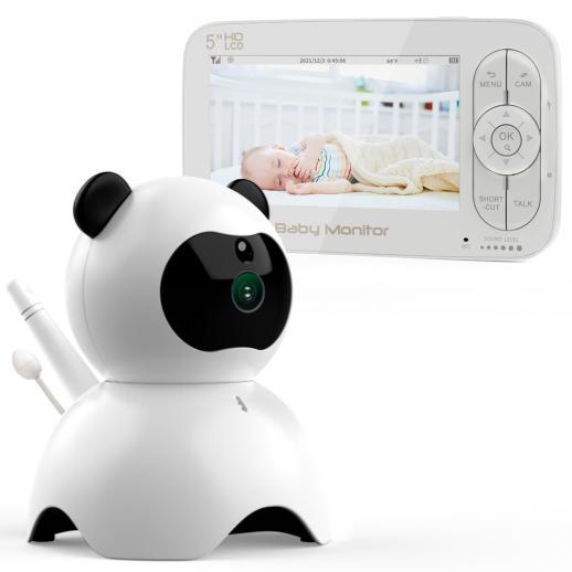 """5"""" Display LCD 720P Audio Bidirezionale Video & Pan-Tilt Remote Camera Baby monitor con Visione Notturna e Sensore di Temperatura"""