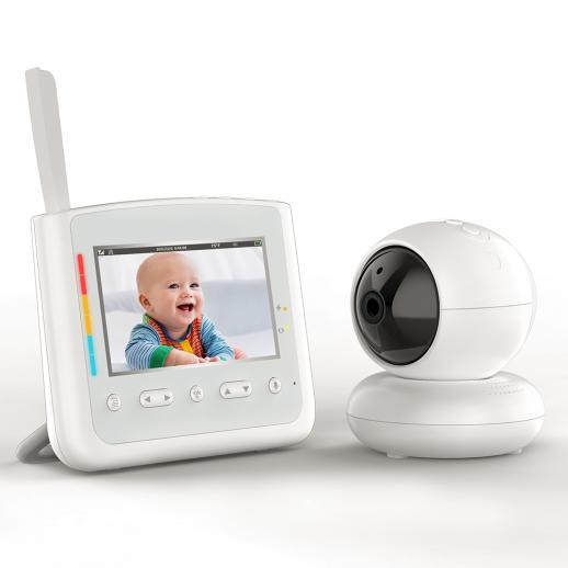 Baby monitor da 4,3 pollici con batteria 18650 sostituibile con luci colorate comfort, supporto ninna nanna, VOX, funzione Gimbal, standard europeo