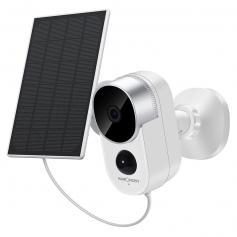 Solar-Außenüberwachungskamera-Set, drahtloses Home-Security-Kamerasystem mit wiederaufladbarem Akku, 1080P HD, wasserdicht, Nachtsicht, Bewegungserkennung, 2 Audiokanäle