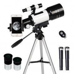 Astronomy Telescope for Kids Adults Beginners, 70mm Refractor Telescopes with Mobile Phone Holder & Adjustable Tripod,Smart Phone Holder & Bluetooth Remote Control