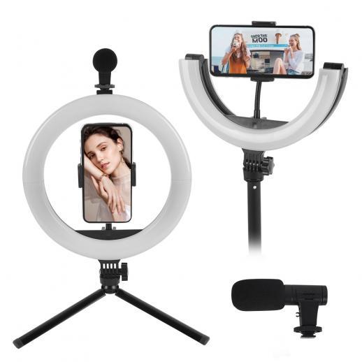 PLM-01 Комплект для видеоблога для YouTube, со складной кольцевой заполняющей лампой, микрофоном и штативом для крепления мобильного телефона, совместим с iPhone / смартфоном / камерой